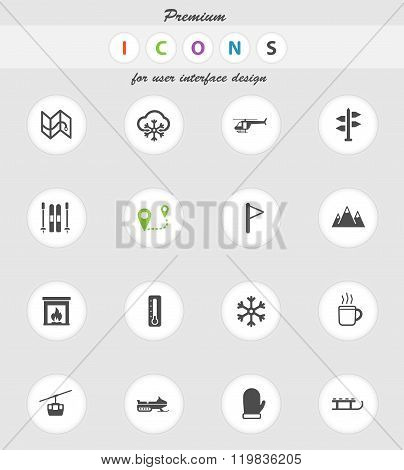 Skiing simply icons