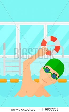 Swimmer training in pool.