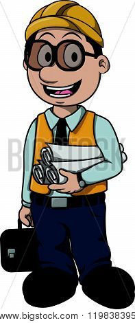 Architect boy cartoon illustration design