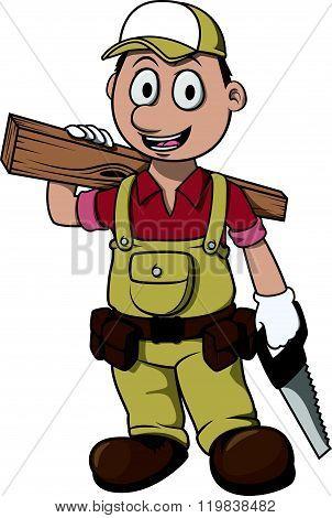 Carpenter boy cartoon illustration design