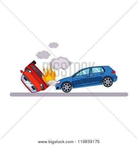 Car and Transportation Situation. Vector Illustration