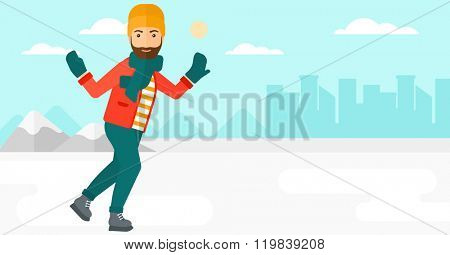 Man ice skating.