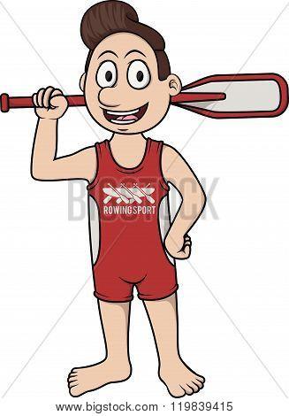 Rowing Sport - Cartoon Illustration