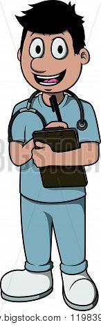 Nurse man vector cartoon illustration design
