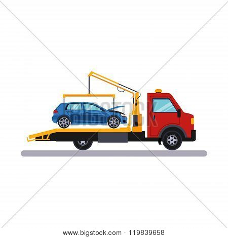 Car on Evacuator. Vector Illustration