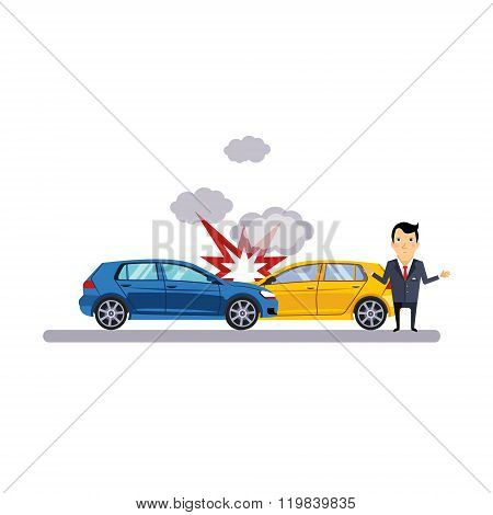 Car and Transportation Collision. Vector Illustration