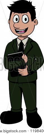 Librarian vector cartoon illustration design