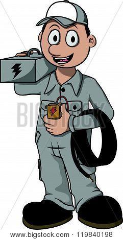 Electrician worker vector cartoon illustration