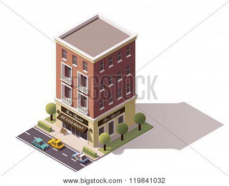 Isometric icon representing restaurant building