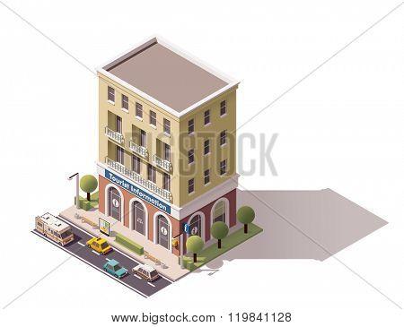 Isometric icon representing tourist information centre building