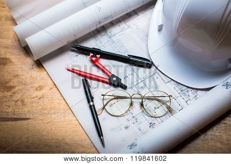 Construction Concept Image Helmet Rolled Blueprints On Wooden Boards In Retro Style