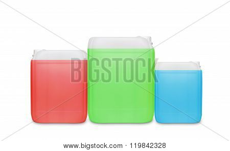 Three transparent cleaning supply product container isolated on white