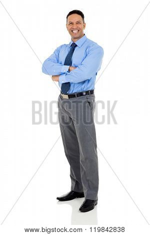 confident mature businessman with arms folded isolated on white