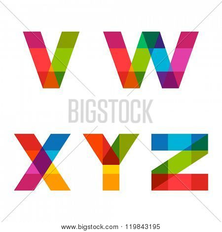 Vector colorful alphabet made of overlapping shapes. Beautiful vivid capital latin letters V W X Y Z. Ready for poster or artwork design.
