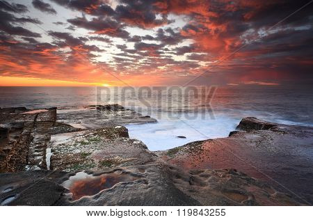 Summer Sunrise Over Maroubra And Reflections