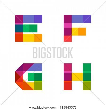 Vector colorful alphabet made of overlapping shapes. Beautiful vivid capital latin letters E F G H. Ready for poster or artwork design.