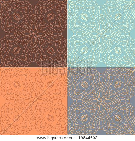 Vector Set Of Outlined Calligraphic Seamless Patterns.