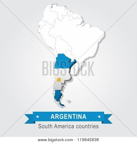Argentina. All the countries of South America. Flag version.