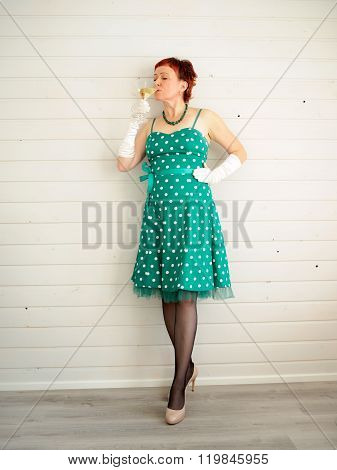 Attractive Adult Woman And Champagne Glass