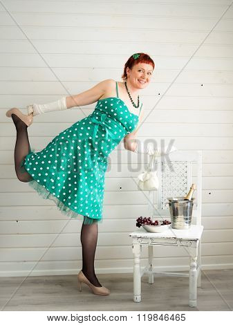 Attractive Adult Woman Wearing Spotted Green Dress