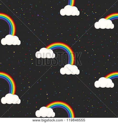 Night Sky Fantasy Kid Seamless Pattern.