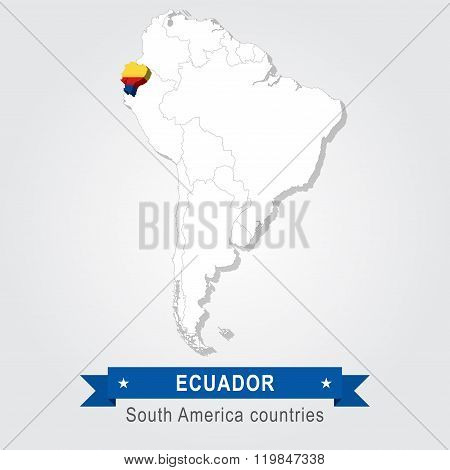 Ecuador. All the countries of South America. Flag version.
