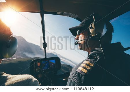 Flying A Helicopter On A Sunny Day