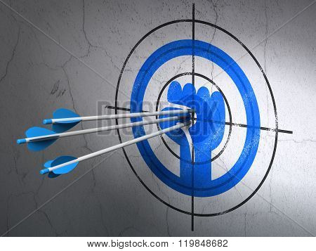 Political concept: arrows in Uprising target on wall background