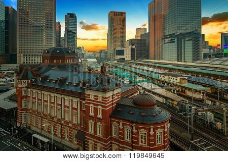 TOKYO JAPAN - NOVEMBER 15 2015: Tokyo Station opened in 1914 a major a railway station and it's the busiest station in Japan in terms of number of trains per day