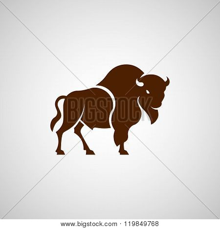 American Bison Logo Sign On A White Background