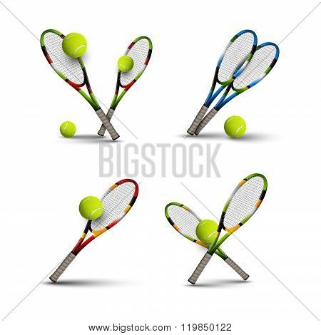 Vector Tennis Symbols As Design Elements, Tennis Balls, Tennis Rackets