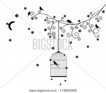 Vector illustration of curly blossom tree branches with hanging cages, wild and domestic birds.