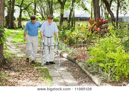 Adult son helping his father use a walker in the park.