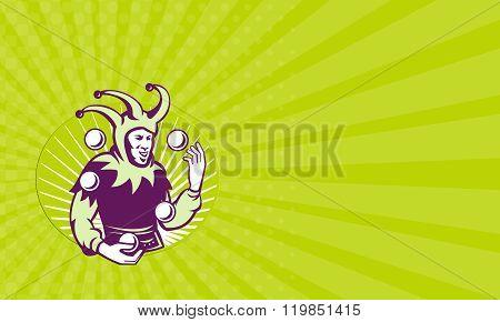 Business Card Jester Juggler Juggling Balls Retro