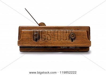Woodworking Tool. Traditional Wooden Hand Plane Isolated On White Background