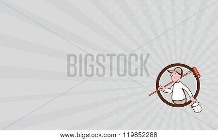 Business Card House Painter Paint Roller Can Circle Cartoon