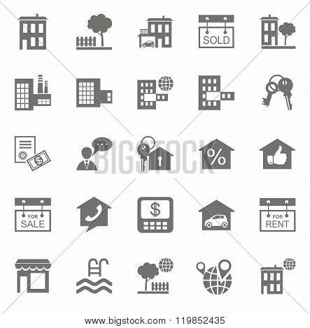 Real Estate, Monochrome Icons...