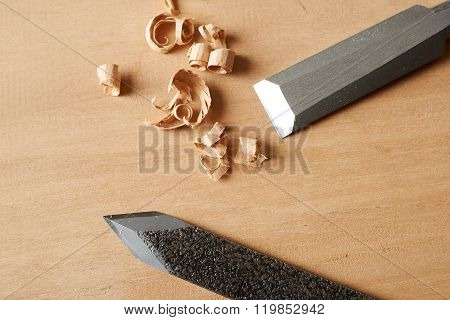 Woodworking Tool. Chisel And Marking Knife With Shavings On Workbench.