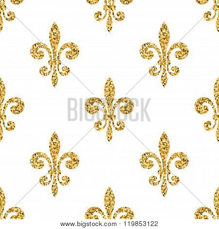 Golden Fleur-de-lis Seamless Pattern White