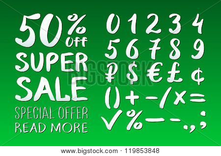 Numbers 0-9 Written With A Brush On A Green Background Lettering. Super Sale. Big Sale. Sale Tag. Sa