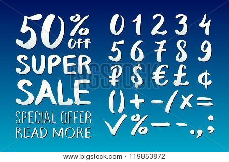 Numbers 0-9 Written With A Brush On A Blue Background Lettering. Super Sale. Big Sale. Sale Tag. Sal