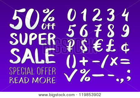 Numbers 0-9 Written With A Brush On A Violet Background Lettering. Super Sale. Big Sale. Sale Tag. S