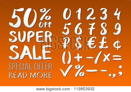 Numbers 0-9 Written With A Brush On A Orange Background Lettering. Super Sale. Big Sale. Sale Tag. S