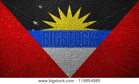 Antigua and Barbuda flag painted on cracked paint