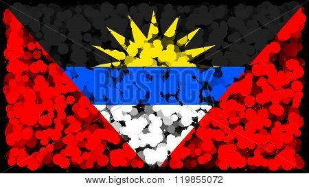 Flag of Antigua and Barbuda painted with brush on solid background, ink texture