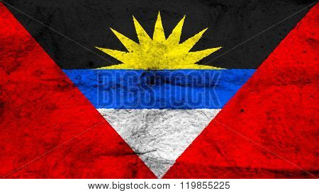 Antigua and Barbuda flag painted on wool