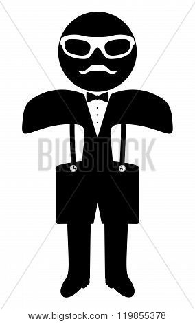 Hipster Man. Suit. Bow Tie