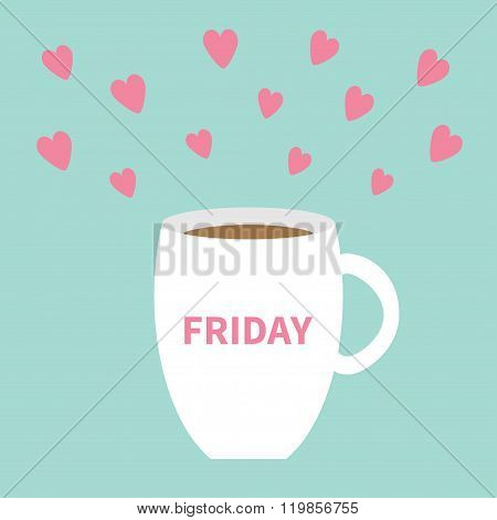 Friday Offee Cup Mug With Pink Hearts Blue Background Flat Modern Simply Design