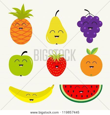 Fruit And Berry Set.  Cartoon Character Face. Banana, Cherry, Strawberry, Orange, Pineapple, Grape,