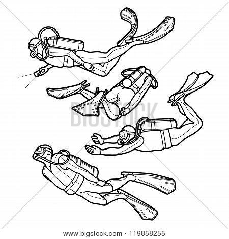 Graphic set of scuba divers